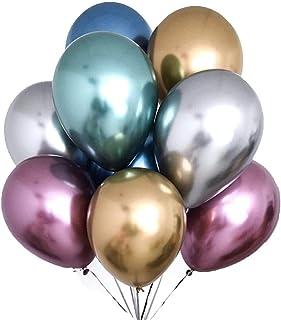 "100 Pcs 12"" Metallic Chrome Latex Birthday Balloons Helium Shiny Balloons Thick Chrome Balloons for Wedding Birthday Baby ..."