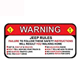 13cm x 6.3cm for Jeep Rules Warning Decal Sticker Wrangler Sahara Funny Car Styling Car Stickers Decal