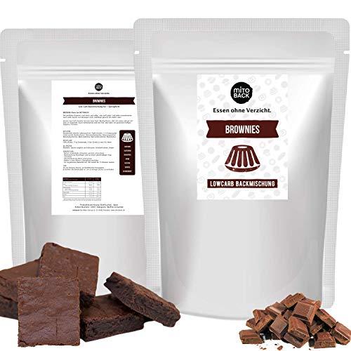 MITOBACK - Brownies Kuchen Backmischung 270 g, Zuckerfreie Schokoladen Kuchenbackmischung für Diabetiker: Low Carb, Glutenfrei, Hefefrei, Sojafrei, Ballaststoffreich, ohne Kohlenhydrate und Zucker