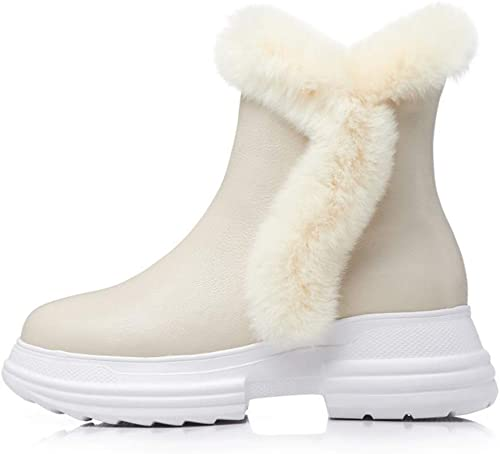 Yanyan Bottes Mode pour Les Les dames, Chaussures à Talons compensés en Cuir Chaussures décontractées Chaussures de cérémonie pour Mariage et soirée, Beige Clair