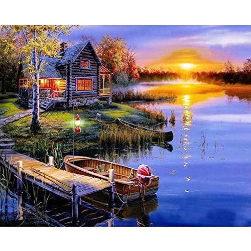 Serthny Schilderen op nummer, doe-het-zelf landelijk zomerhuis in de zonsondergang geschilderd scène 40 x 50 cm vulling schilderij voor beginners, schilderen op nummerset met penseel kleuren en canvas Home Decoratief