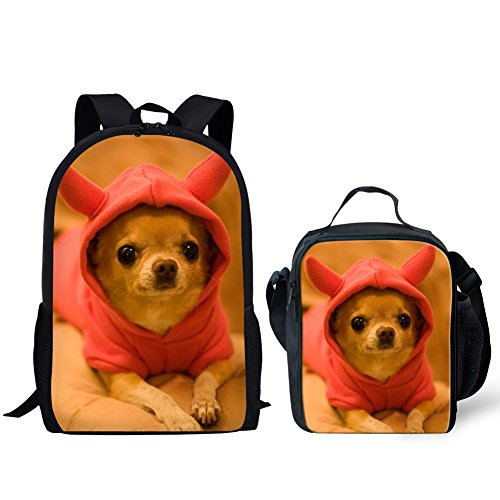 HUGS IDEA Cut Puppy Kids Backpack Girls School Bag with Lucn Bag (Chihuahua Pattern)