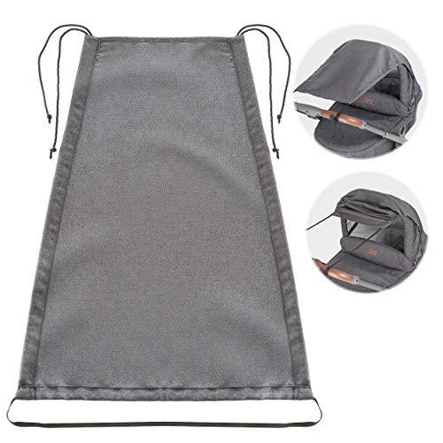 Zamboo Universal Sonnensegel DELUXE für Kinderwagen Babywanne - reißfester Sonnenschutz mit UV Schutz Beschichtung 50+ und Rollo-Funktion - Melange Grau