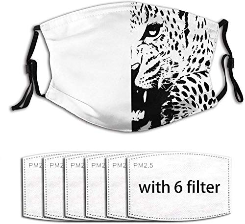 HOLIMION Leopard In B & Amp W regolabile Earloop viso bocca anti inquinamento lavabile con 6 filtri
