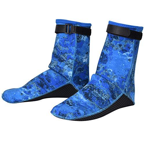 Dibiao Wetsuit Socks Surf Booties 3mm Non- Slip Camouflage Diving Snorkeling Surfing Socks Neoprene Winter Swimming Socks Blue L