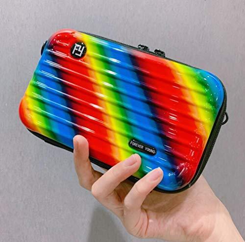 ABS + PC15.5 * 10.5 * 7.0cm Diagonal Sac à bandoulière Bagagerie Sac cosmétique,Rainbow
