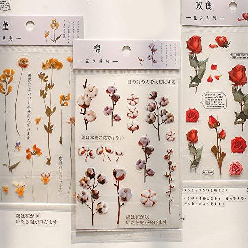 BLOUR Journal dekorative Aufkleber niedliche Rose Lavendel Aufkleber PET Kleber Aufkleber DIY Dekoration Tagebuch Scrapbooking Briefpapier Versorgung