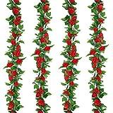 Pauwer Seide Künstliche Rosenblüten Hängende gefälschte Rosengirlande für den Garten Hausdekoration (6 Stück, Rot)