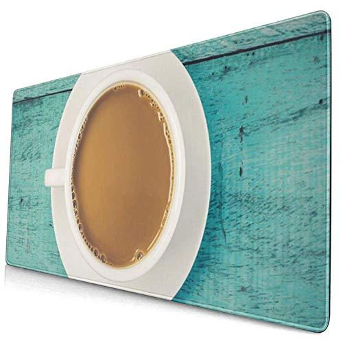 Gaming-Mauspad, Premium-strukturierte Mauspad-Pads, süßes Mousepad für Spieler, Büro- und Home-Top-View-Tasse Kaffee auf blauem Holztisch