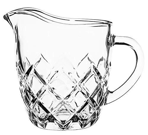 KADAX Milchkännchen aus Glas, Milchkanne mit Griff, Sahnekanne, Krug, Sauciere, kleine Glaskanne für Milch, Sahne, Sauce, Kaffee, einfach zu reinigen, transparent (200 ml, Rauten)