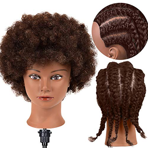 Mannequin Head with Human Hair African American Mannequin Head 100% Human Hair Cosmetology Doll Head Hairdresser Styling Training Head Manikin Head with Curly Hair Mannequin Head for Practice Braiding Doll Head