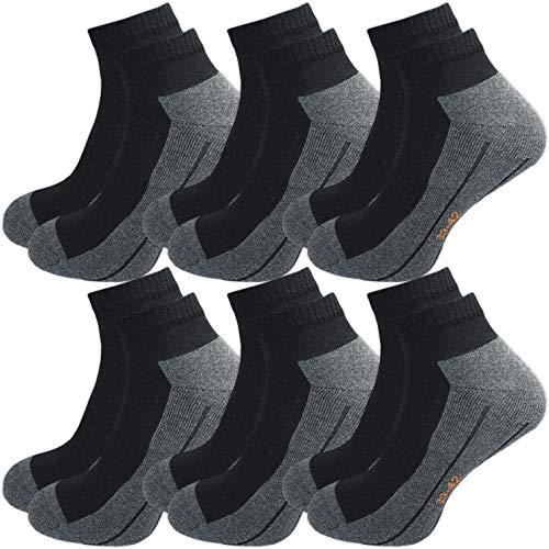 GAWILO Sport Sneaker Socken (6er-Pack) (43-46, schwarz)