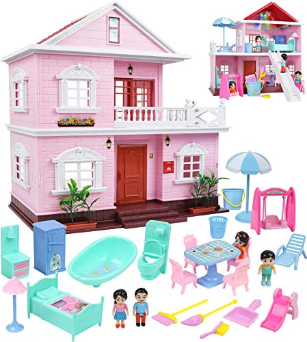 TeganPlay Miniature Dollhouse Kit for Little Girls with Doll House Furniture and Accessories