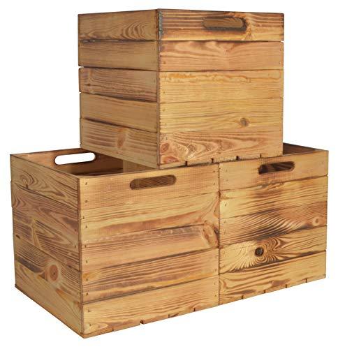 CHICCIE 3 Set Kallax Holzkiste Karl - Geflammt Aufbewahrungsbox 33x38x33cm Aufbewahrungskorb Holzbox Holz Regal