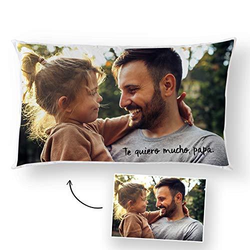 Fotoprix Almohada con Foto y Texto Personalizado para Papá   Regalo Original día del Padre   Varios diseños Disponibles   Tamaño: 30 x 50 cms
