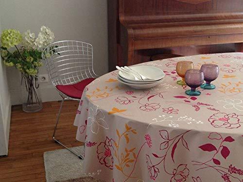 Nappe Rectangulaire anti-tache imperméable 160x300cm Camélia Orange par Fleur de Soleil - coton enduit - sans solvant - sans phtalate - 100% fabrication française
