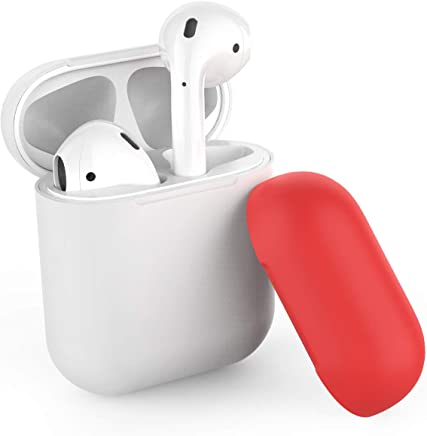 AhaStyle Two Toned AirPods Case Cover Silicone for Apple AirPods 2 & 1 (Body-White/Top-White,Red)