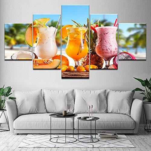 TXFMT Geen frame canvas decoratie schilderij handgemaakte DIY Sap op het strand 5 stuks behang kunst canvas afdrukken moderne poster modulaire kunst schilderij woonkamer huisdecoratie foto's non-woven canva 150*100CM