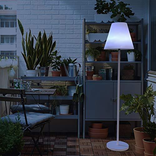 Lámpara de Pie Exterior con Altavoz Integrado, Carga con Solar y Batería, Luz LED RGB, Mando a Distancia. Altura: 140 cm.