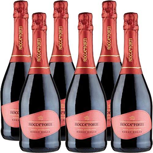 Vino Spumante Rosso Dolce | Rocca dei Forti | 6 Bottiglie 75 Cl | Idea Regalo