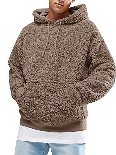 Gemijacka Pullover Herren Hoodie Herren Kapuzenpullover Plüsch Hoodie Sweatshirt Teddy-Fleece Pullover mit Taschen, Braun, XL