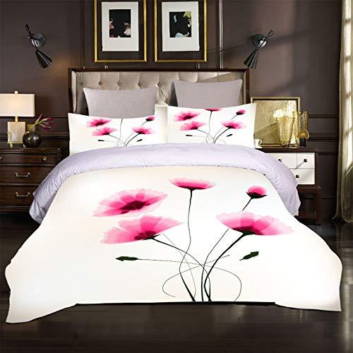 ZPOEQW Juego De Ropa De Cama 135X200cm 3 Piezas Impresión Flores Rosadas 3D Juego De Funda Nórdica De Microfibra para Cama 90, 1 Funda De Edredón Y 2 Fundas De Almohada 50X75cm