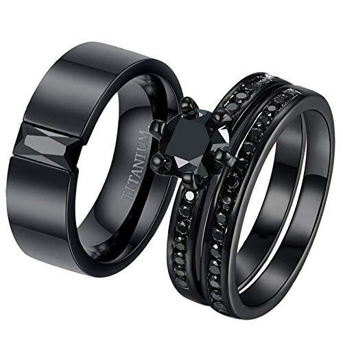2 anillos para él y para ella anillos de pareja de anillos negros CZ anillos para mujer anillos de boda de acero titanio para hombre