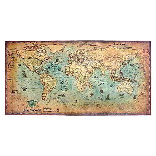 Wereldkaarten retro wanddecoratie zeekaart wereldkaart poster fotobehang motief antiek wandschilderij landkaart hoofddecoratie (71x36cm / 100x51cm) 100 * 51 cm -