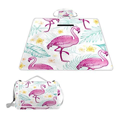 XINGAKA Couverture de Pique-Nique,Flamingo Seamless Pattern Girl Textile Print,Tapis Idéale pour Plage Jardin Parc Camping