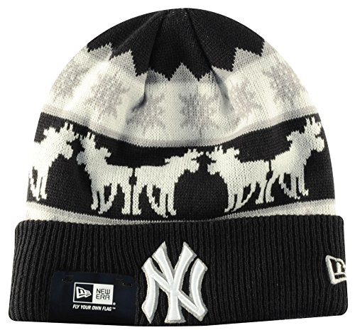 New York NY Yankees MLB Navy / Blanc The Mooser New Era Beanie Chapeau Taille Unique