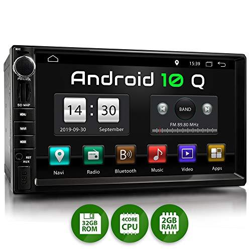 XOMAX XM-2VA757 Radio de Coche con Android 10 I Quad Core, 2GB RAM, 32GB ROM I GPS I Soporte WiFi, 3G, 4G, Dab+, OBD2 I Bluetooth I 7