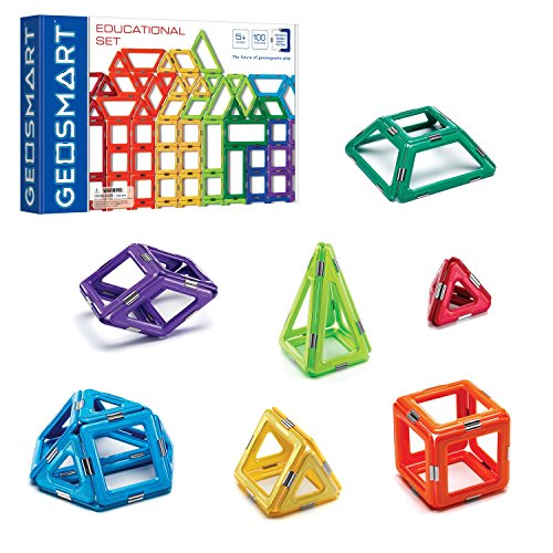 GeoSmart Educational STEM Building Set 100 GeoMagnetic Pieces with Spinners and Wheels