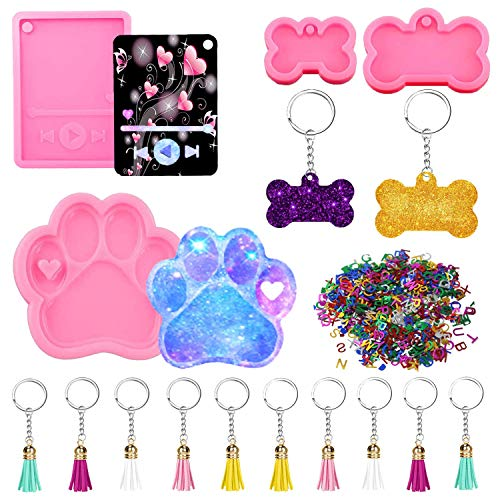 Epoxy Craft Keychain Silicone Moulds Kit Include Dog Tag Silicone Resin Mold, Dog Paw Resin Mold, Media Player Mold and 10pcs Keychain with Tassels, Alphabet Sequins for DIY Polymer Clay Decoration