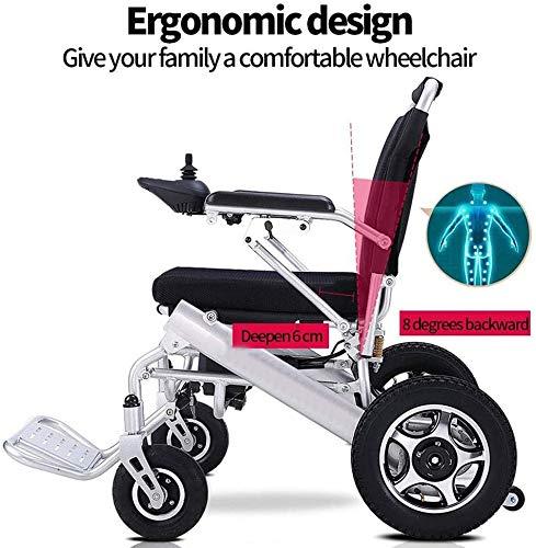 TTPF Elektro-Faltbare Elektro-Rollstuhl Elektro-Rollstuhl, Elektro-Rollstuhl leichte Klapp Carry, leistungsstarker Zweimotor,Black