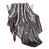 Exclusivo Mezcla Starry Flannel Fleece Throw Blanket, Golden Snowflakes & Stars(50' x 60', Grey)- Decorative, Lightweight, Soft and Warm
