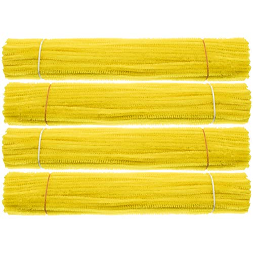 Waycreat 400 Pieces Pipe Cleaners Yellow Chenille Stem for DIY Art Craft Decorations (6mm x 12 Inch)