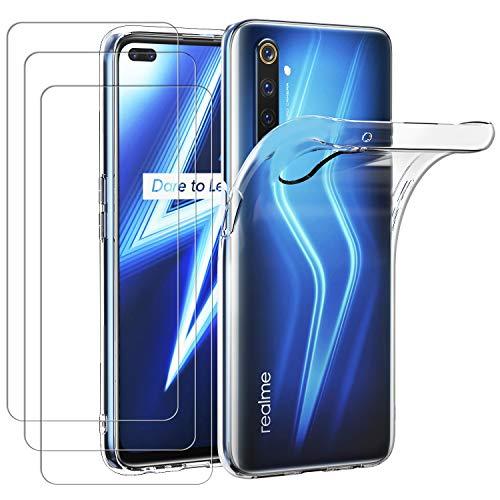 ivoler Hülle für Oppo Realme 6 Pro + [3 Stück] Panzerglas, Durchsichtig Handyhülle Transparent Silikon TPU Schutzhülle Hülle Cover mit Premium 9H Hartglas Schutzfolie Glas