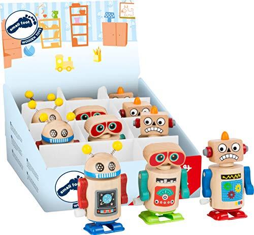 Small Foot 11046 Display Roboter 12 Stück, FSC 100%-Zertifiziert, Aufziehspielzeug aus Holz Spielzeug, Mehrfarbig