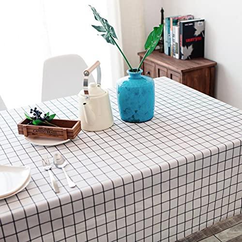 Mantel de Lino de algodón para Mesa de Fiesta Rectangular Pastoral Country Style Plaid Print Cubierta de Mesa de Comedor Cocina Decoración para el hogar-1,120x180cm