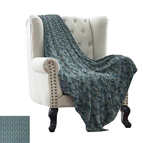 BelleAckerman - Manta de colchón de Cachemira con Forma de lágrima Inspirada en la Cultura Persa con diseño Floral de Punta Curvada, 300 g/m², Supersuave y cálida, Manta Duradera de 60 x 78 Pulgadas