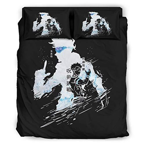 Hothotvery Juego de ropa de cama de 4 piezas con estampado del año Gojo y Sukuna japonés, 4 piezas, funda nórdica ultra suave, funda de edredón y almohada blanca, 175 x 218 cm