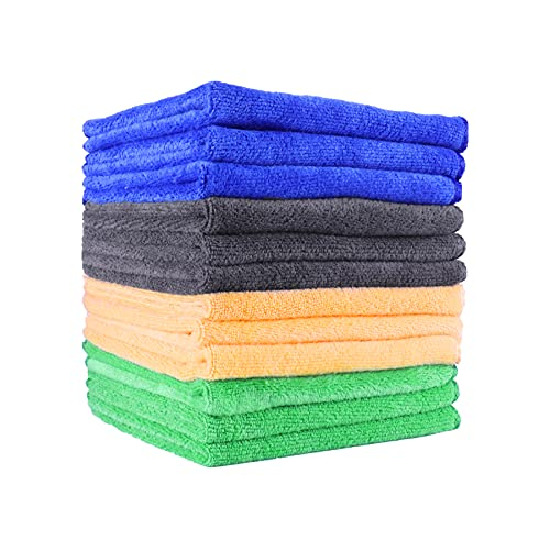 """UYYE Premium All-Purpose Microfiber Cleaning Towels for car, Strong Absorptio,12""""x 12"""". Thick Professiona Cleaning Rags for Cars Cloth (12-Pack)"""