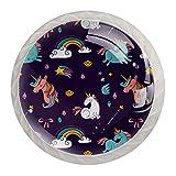 Tiradores para muebles niños Diamante unicornio colorido Perilla del cajón cristal Perillas del gabinete Creativo Manija del cajón blanco 4 piezas Para Habitación Infantil 3.5×2.8CM