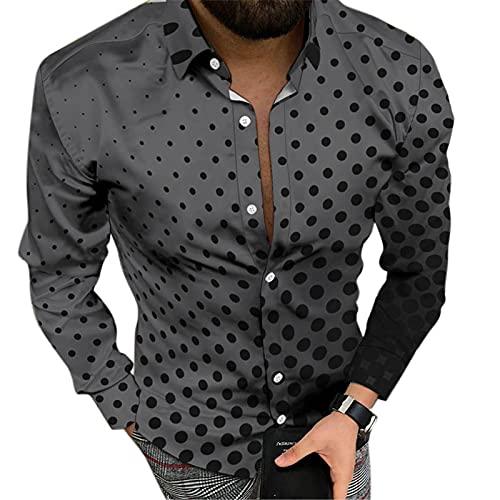 Camisa de Manga Larga con Estampado de gradiente de Lunares para Hombre, Camisa de Solapa Suelta con Estampado 3D Informal para jóvenes