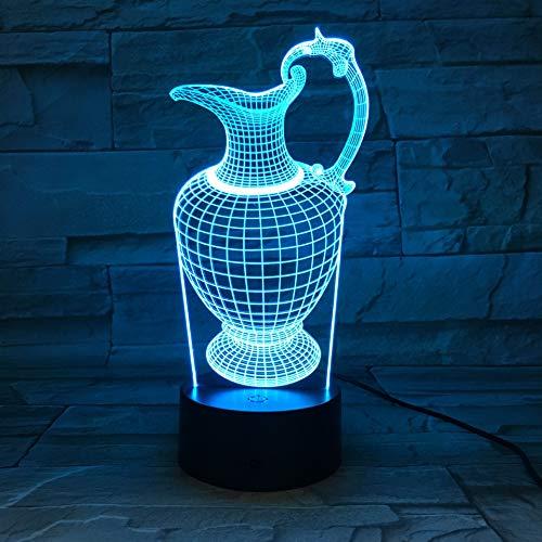 3D Nachtlicht Retro Bunte Wasserkocher Krug Flasche Led Tischlampe Smart Led Fenster Dekoration Neujahr Geschenk Halloween Geschenk