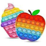 Push Bubble Pop Blase Fidget Sensory Spielzeug 2 Satz Regenbogen Fidget Popper für Kinder Stress-Angst Relief Spielzeug für Autismus ADHS Special Squeeze Sensory Spielzeug für Kinder Erwachsene