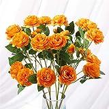 Tifuly 6 Piezas de peonías Artificiales, Flores de simulación de peonía de Seda realistas para centros de Mesa, hogar, Hotel, Bodas, Fiestas, Jardines (Naranja)