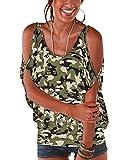 YOINS - Blusa informal de verano con los hombros descubiertos, cuello escotado, cierre anudado y estampado floral para mujer Camuflaje-verde claro XL