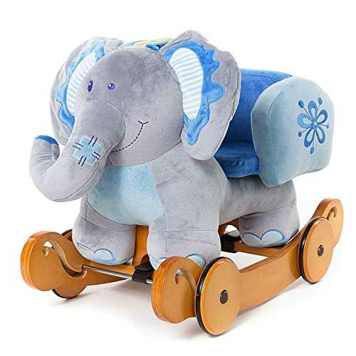 labebe Baby Schaukelpferd Holz mit Räder, 2-in-1 Schaukeltier Elefant, Schaukelpferd Blau für Baby 1-3 Jahre Alt, Kleinkind Schaukel Baby/Schaukeltier Musik/Schaukeltier Holz/Schaukelpferd Plüsch