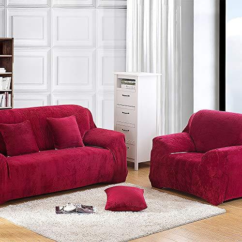 JOYFULBID copripoltrona Spessore Puro Colore per 1/2/3/4posti, Divano Protector Velluto Easy Fit Elastico Tessuto Elasticizzato Divano Slipcover, Wine Red, 4 sedili
